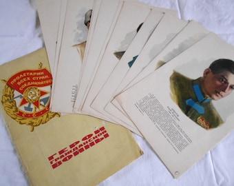 "15 posters portraits ""Heroes of World War II"" soviet poster"