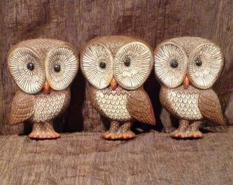 Set of three foam resin family of owls, free shipping