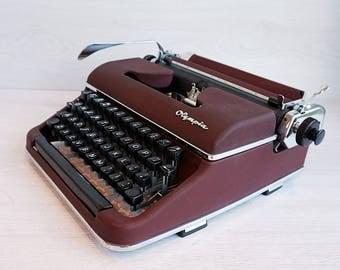 Olympia SM2 Typewriter, Vintage Typewriter, Burgundy Red Typewriter w/ Hard Case, Portable Typewriter, Manual Typewriter 1950s typewriter