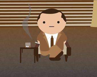 Don Draper from MadMen kawaii art digital print