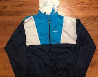 Vintage Reebok Sport Windbreaker Jacket Collapsible Hood 90s Size XL