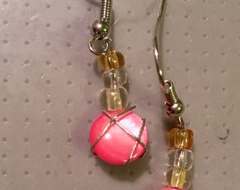 Wire wrapped pink dangle earrings
