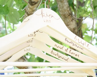 Wedding Wooden Hanger, Bridal and Bridesmaid Dress Hanger, Personalized Custom Wedding Hanger