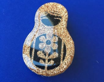 "Brooch ""Russian Doll"" gold or silver"