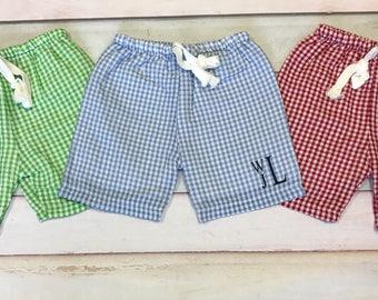 Boys Seersucker Swim Trunks, Personalized Swimsuit for Boys, Bathing Suit, Toddler and Kid Swimwear