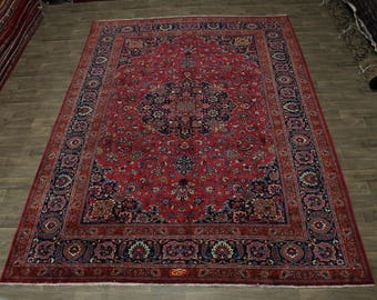 Overwhelming Antique Signed Palace Mashad Persian Rug Oriental Area Carpet 11X16