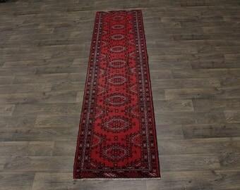 Narrow Antique Tribal Turkoman Runner Persian Area Rug Oriental Carpet 2'4X9'9