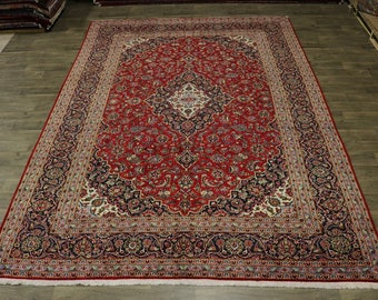 Great Traditional Design Red Kashan Persian Rug Oriental Area Carpet Sale 10X14