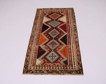 Beautiful Pattern Hand Knotted Shiraz Persian Wool Rug Oriental Area Carpet 5X9