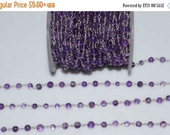 50% OFF Beautiful Natural Amethyst Plain Smooth Wire Rosary Beaded Chain-Amethyst Plain Smooth Round Chain , 4.50-5.50 mm - RB5262