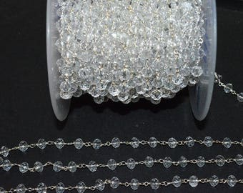 Brand New Crystal Hydro Quartz Glass Rosary Bead Chain - Faceted Wire Wrapped Chain, Sold By Foot, 5.50 - 6 mm - RB5718