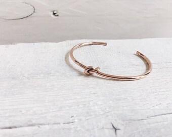 Knot Bracelet Rose Gold | Minimalist Cuff Bracelet Sailor Knot Stainless Steel Jewellery