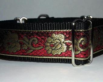 "Lurcher Greyhound Whippet Saluki Martingale Red Gold Flowers Dog Collar 12"" 13"" 14"" 15"" 16"" 17"" 18"" 19"" adjustable Metallic washable"