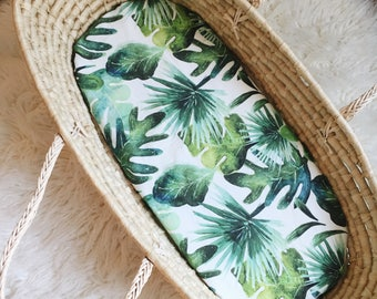 Moses Basket Sheet, Bassinet Sheet, Moses Basket, Fitted Sheet, Bassinet Bedding, Baby Bedding, Monstera Bedding, Tropical Leaves, Newborn