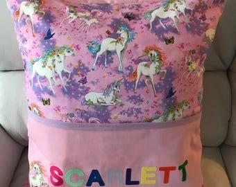 Lovely handmade personalised unicorn reading cushion