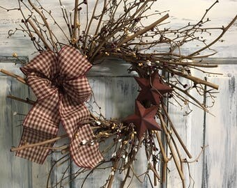 """14"""" Primitive Country twiggy wreath with bow and stars"""