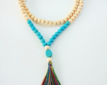 Natural wood + Turquoise Howlite beads Mala Necklace-108 + 1 wooden beads Mala Necklace - Meditation Necklace - Collar para meditación