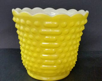 Vintage Fire-King yellow vase.  Hobnail dash design
