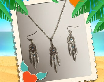 Silver Chandelier Earrings & Necklace