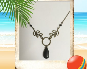 Brass & Black Turquoise Necklace