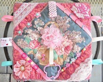 Flower Basket Fidget Lap Pillow/Blanket, 14.5X14.5, Sensory Activity Pillow, Restless Hands, Dementia, Alzheimer, Stroke, Brain Trauma