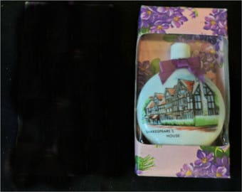 Vintage Devon Violets Perfume by Aidees of England Opal Flasks William Shakespeare's Birthplace   1674
