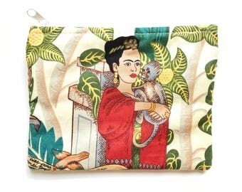 Frida Kahlo bag, Frida Kahlo make up bag, Frida Kahlo purse, Mexican bag, Mexican purse, Mexican clutch, Mexican folk art, Frida Kahlo party