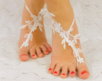 Gift for Bride | Barefoot Sandals, Wedding Accessories, Lace Wedding Shoes White, beach wedding shoes, wedding lace shoes, beach shoes 09