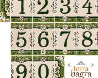Handmade Ceramic House Number tiles DAISY - Large size