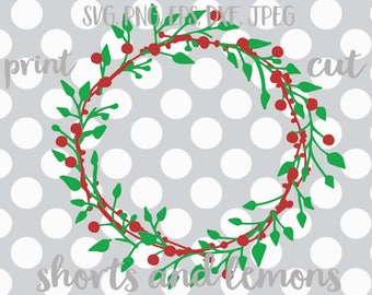 Wreath svg,  Christmas SVG, holiday svg, Christmas svgs, holly svg, SVG, winter svg, Digital Download, commercial use, holly svg, dxf, eps