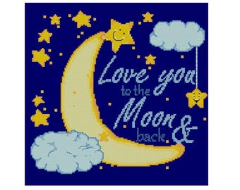 I love you to the Moon & back cross stitch pattern PDF, Love cross stitch pattern