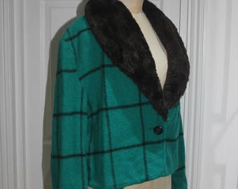 Forest Green Check Wool Jacket with Fur Collar - Custom made