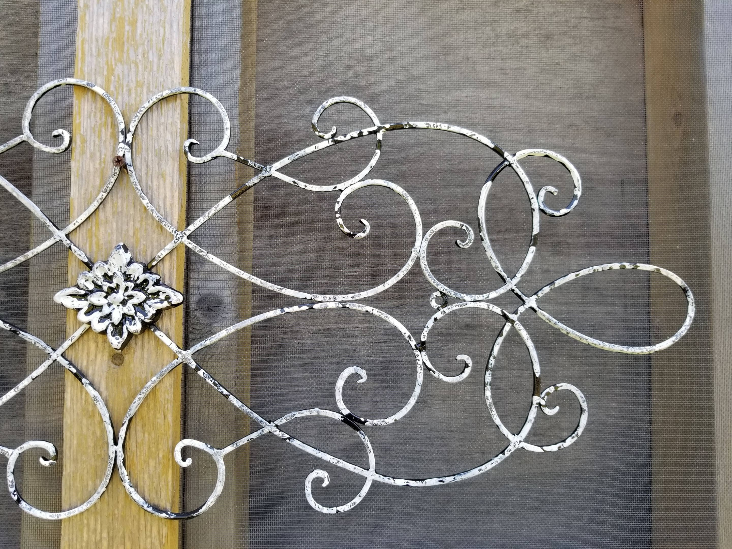 Distressed White And Black Large Metal Wrought Iron Wall Art