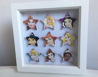 Disney Princesses 3D star frame Favourite characters on stars in frame with Cinderella, Aurora, Snow White, Jasmine, Belle, Tiana, Ariel