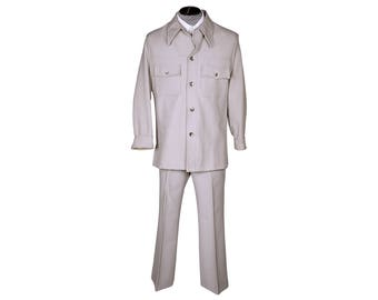 Vintage 1970s Mens Leisure Suit Grey Polyester Size M L
