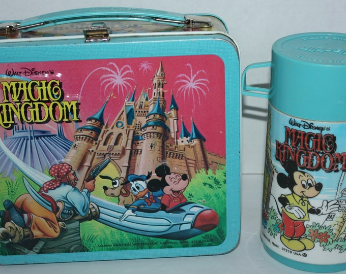 Vintage 1979 Walt Disney's Magic Kingdom Metal Lunch Box with Thermos Very Good Condition