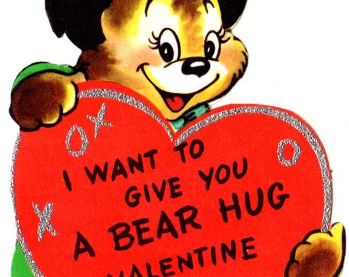 Vintage I Want To Give You A Bear Hug Die-Cut Children's Classroom Valentine's Day Card UNUSED