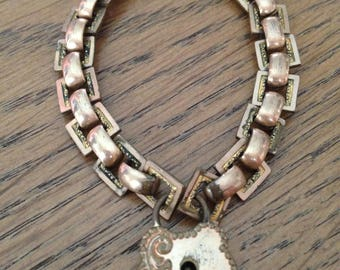 Victorian Gate Bracelet with Heart Lock, No Key