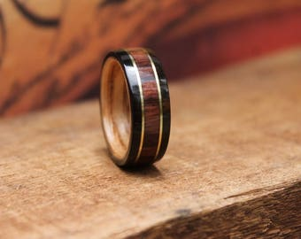Kingwood Bentwood Ring - Brass Inlay Wood Ring Wooden Wedding Ring Mens Wooden RIngs Engagement Ring Reclaimed Wood Anniversary