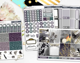 Ominous FULL Vertical Weekly Planner Sticker Kit for use with Erin Condren Lifeplanner™, Filofax, Personal, A5, Happy Planner
