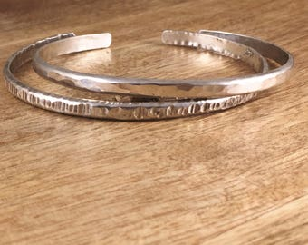 Hammered Cuff - Silver Cuff - Narrow Cuff - Silver Bracelet - Textured - Sterling Silver Cuff - Solid Silver - Minimal Jewelry - SB001