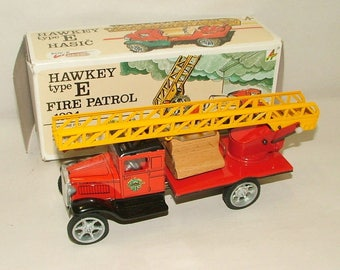 Vintage Tin Fire Truck  Hawkey Type E 1924 With Original Box **** 1980's******