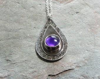 Amethyst pendant, February birthstone, birthstone jewellery, handcrafted amethyst pendant, amethyst and silver pendant, purple pendant