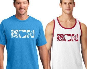 """Summer Beach Wear """"Peace Love Flip Flop"""", Up Beat Summer Collection, Soft comfyMens, Tees and Tanks, You pick your style."""