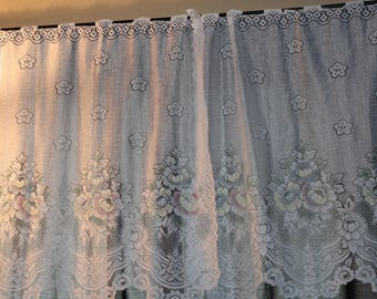 Vintage Colorful  Flowers Pattern Curtains Almost Lace Like Material