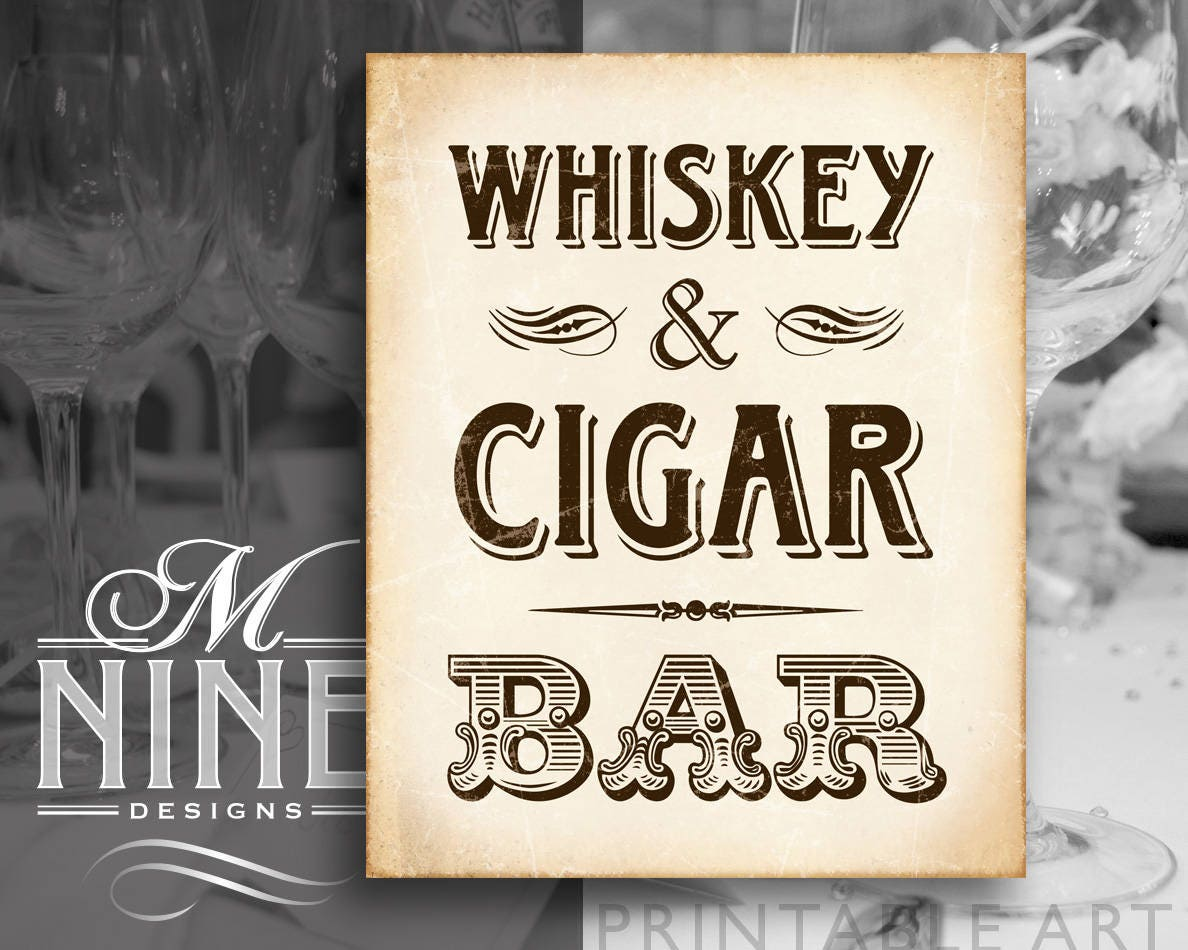 Rustic Vintage Printable Art WHISKEY CIGAR BAR Sign Western Party Bar Download