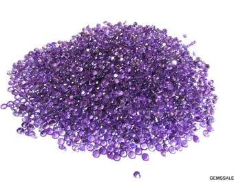 50 piece 3mm purple amethyst round faceted wholesale gemstone - natural amethyst faceted round loose gemstone - semi precious gemstone