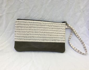 Small Katrina pouch, black dashes and green leather trim