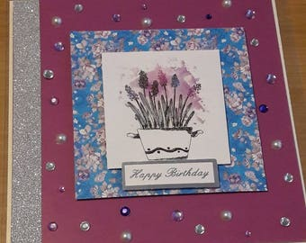Handmade Birthday Card with embellishments diecut shapes and floral design with envelope. Blank card with diamante pearl detail