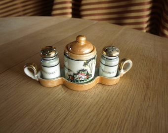 Vintage Japan Lusterware Salt and Pepper Shakers with Condiment Pot Set on Tray with Carsonia Park Logo